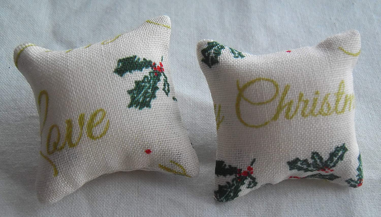 Christmas Greetings Print Cushions 1//12th Scale