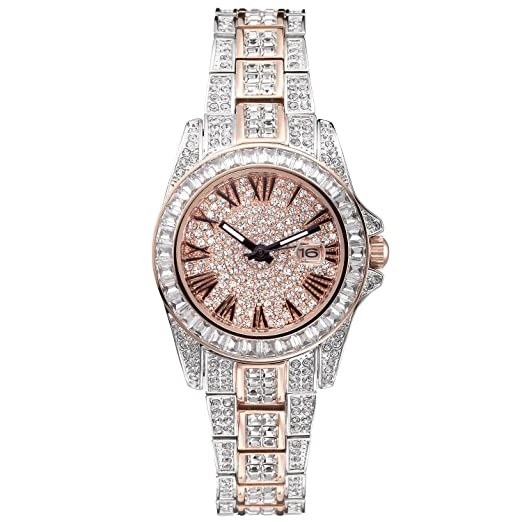 Princess Butterfly Luxury Watch, Crystal Watches for Women, 2 Tone Japanese Quarts Movement Water