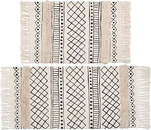 Topotdor Tufted Cotton Area Rug 2 Pieces,Hand Woven Print Boho Tassels Floor Rugs Perfect Bedroom Living Room Hallway Home Decor 2 x 3 2 x 4 , White Skyline