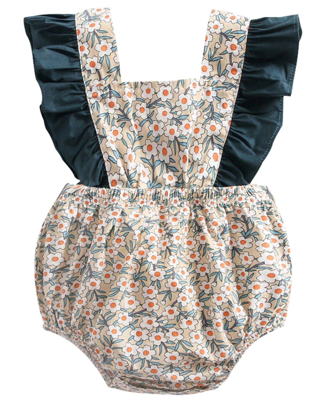 DeerBird Newborn Infant Baby Girl Ruffle Sleeve Bowknot Rompers Bodysuits Short Jumpsuits Size 12M Beige Floral