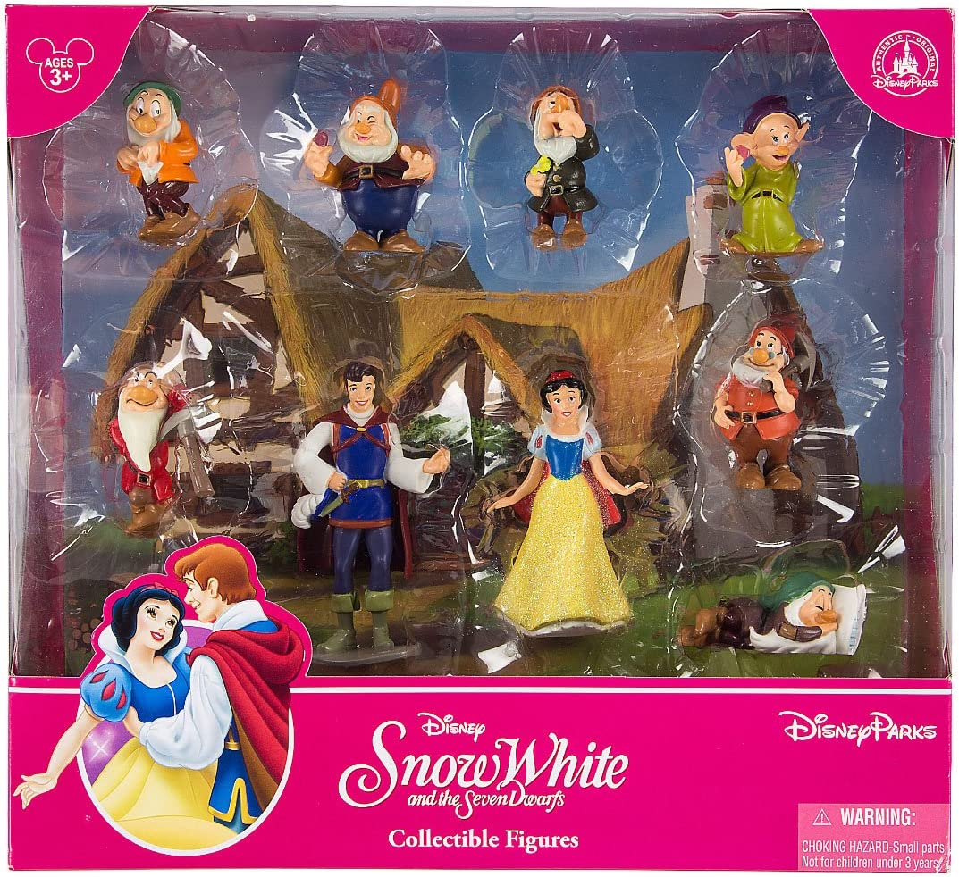 Disney Parks Snow White and the Seven Dwarfs Figurine Playset Play Set Cake Topper Featuring Snow White, The Prince, Bashful, Doc, Dopey, Grumpy, Happy, Sleepy, and Sneezy