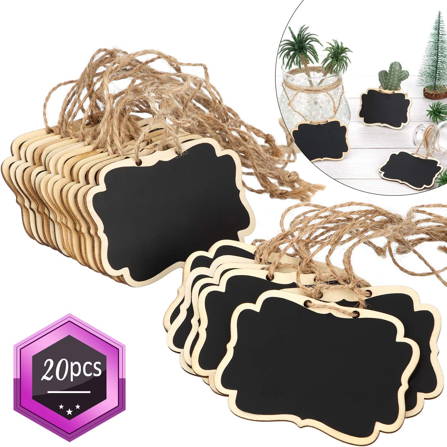 Chalkboard Tags Hanging Wooden Mini Chalkboard Signs Wooden Chalkboard Tags, Hanging Chalkboard Labels, Ideal Price Tags, Message Tags, Black (20)