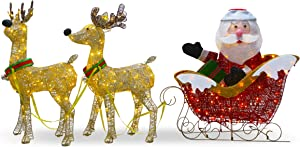 National Tree Company Pre-lit Artificial Christmas Décor Includes Strung White Lights and Ground Stakes-Reindeer and Santa's Sleigh-34 Inch