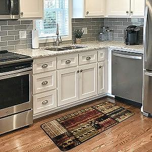 Kitchen Rug Mats 39 X 20 Inch African Pattern Soft Doormat Bath Rugs Runner Non-Slip for Home Decor