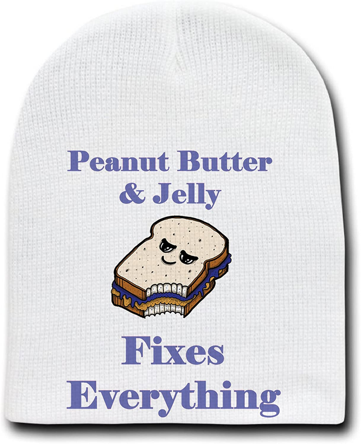 Peanut Butter /& Jelly Fixes Everything Cartoon-White Beanie Skull Cap//Hat