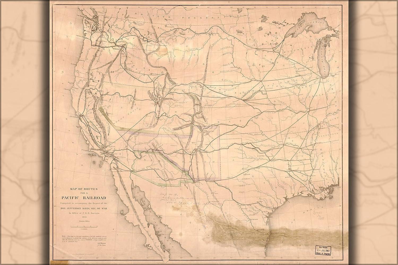 Amazon.com : 16x24 Poster; Map Of Transcontinental Railroad ...