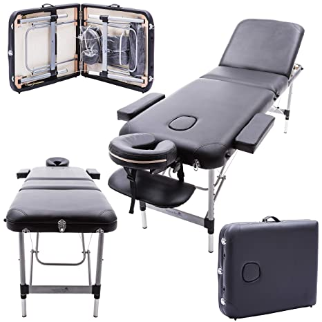 Magnificent Massage Imperial Professional Buckingham Richmond Aluminium 12Kg Black 3 Section Portable Massage Table Couch Bed Spa 5Cm 2 Theyellowbook Wood Chair Design Ideas Theyellowbookinfo