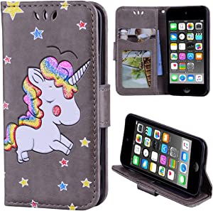 Luxury PU Leather Wallet Case for iPod Touch 5/6, Kickstand Flip Folio Case Cover with Card Slots for iPod Touch 5/6 - Gray