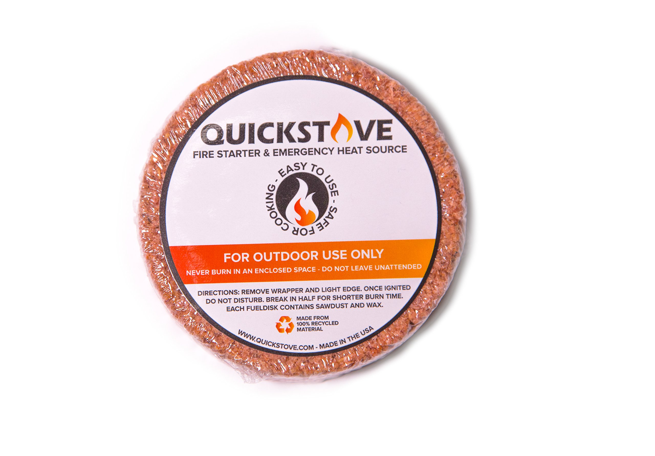 Natural Waterproof Survival & Camping Fuel Disk Fire Starters - Pack of 20 - 10 hour burn time - Made of Cedar & Wax - Perfect for camping, hiking, backpacking & emergency preparedness by QuickStove by QuickStove (Image #2)