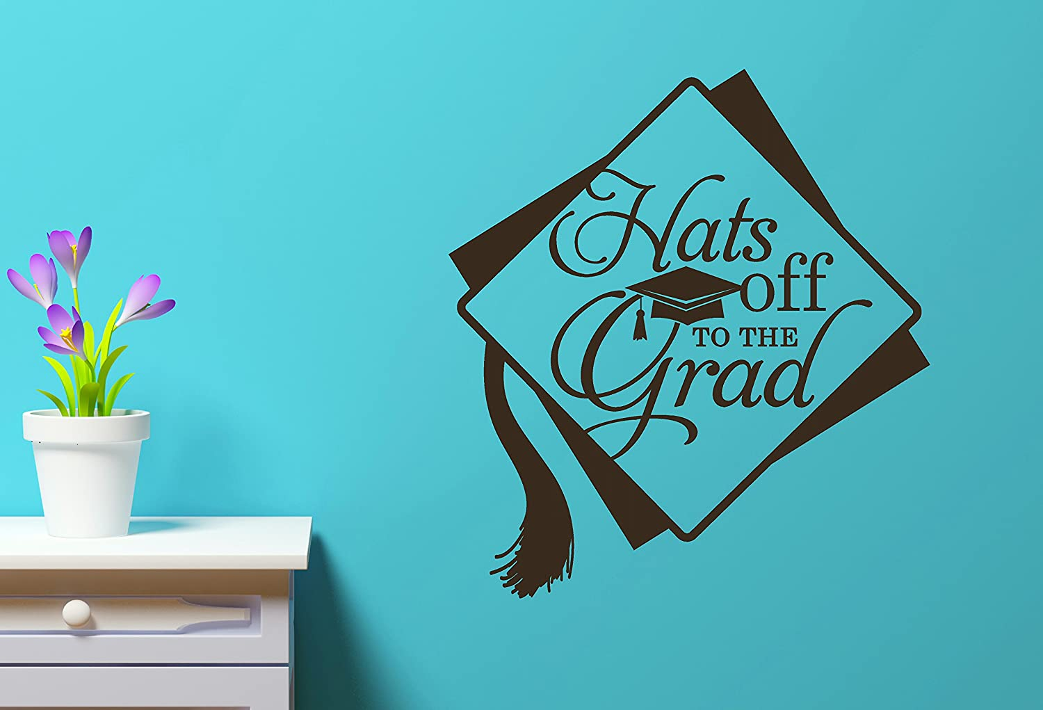 Chocolate Brown Wall Decor Plus More WDPM3458 Hats Off to the Grad with Cap /& Tassel Vinyl Wall Art Decal 12 x 12