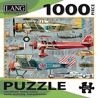 "LANG - 1000 Piece Puzzle -""Planes"", Artwork by Artly - Linen Finish - 29"" x 20"" Completed: Toys & Games"