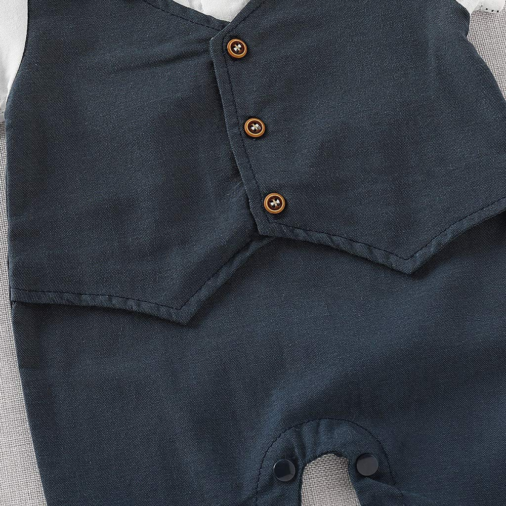wanshop   /® Neonato Ragazzo Bambini Pagliaccetto Jumpsuit Pantaloncini Pantaloni Camicia Pulsante Tie Giacca Gentiluomo Tutina Body Bambino Vestiti Fake Due Pezzi