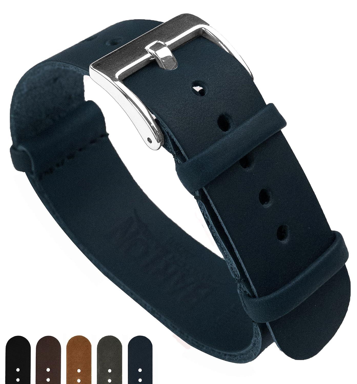 BARTONレザーNATOスタイルの腕時計ストラップ 色、長さ、幅の選択 18mm、20mm、22mm、24mmバンド。 20mm Long (11