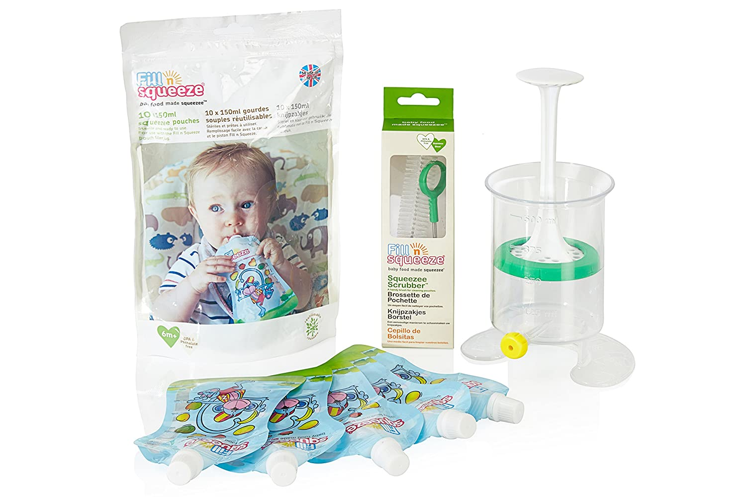 Fill n Squeeze Weaning Starter Kit - Reusable Pouches, Cleaning Brush, Refills for Homemade Purees, Smoothies, Yogurts and Baby Food for all Stages of Infant Feeding (Value Pack) Fill n Squeeze Ltd