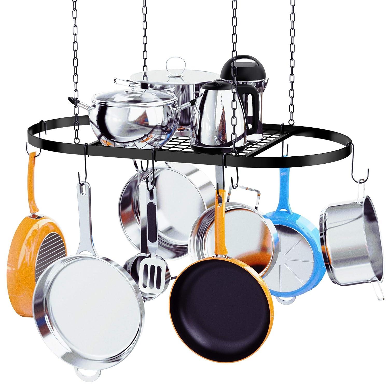 Kaptron Pot Rack Ceiling Mount Cookware Pan Rack Hanging Hanger Organizer Storage with 10 Pot Hooks - Multi-Purpose Organizer Holder for Home, Restaurant, Kitchen Cookware, Utensils, Household