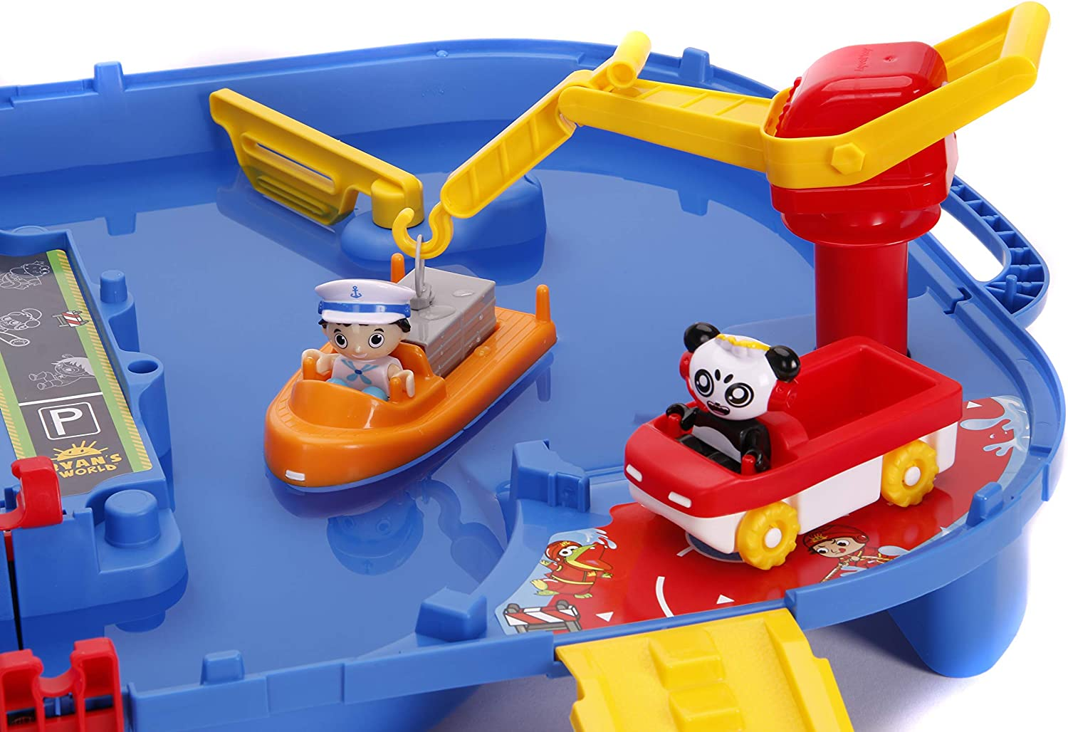 Jada Toys AquaPlay Ryans World Water Playset Red and Blue Water Table 2 Characters 2 Boats Included Indoor and Outdoor Water Toy
