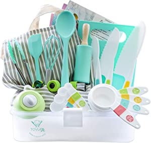 Tovla Jr. Kids Cooking and Baking Gift Set with Storage Case - Complete Cooking Supplies for the Junior Chef - Kids Baking Set for Girls & Boys - Real Accessories & Utensils for the Curious Child
