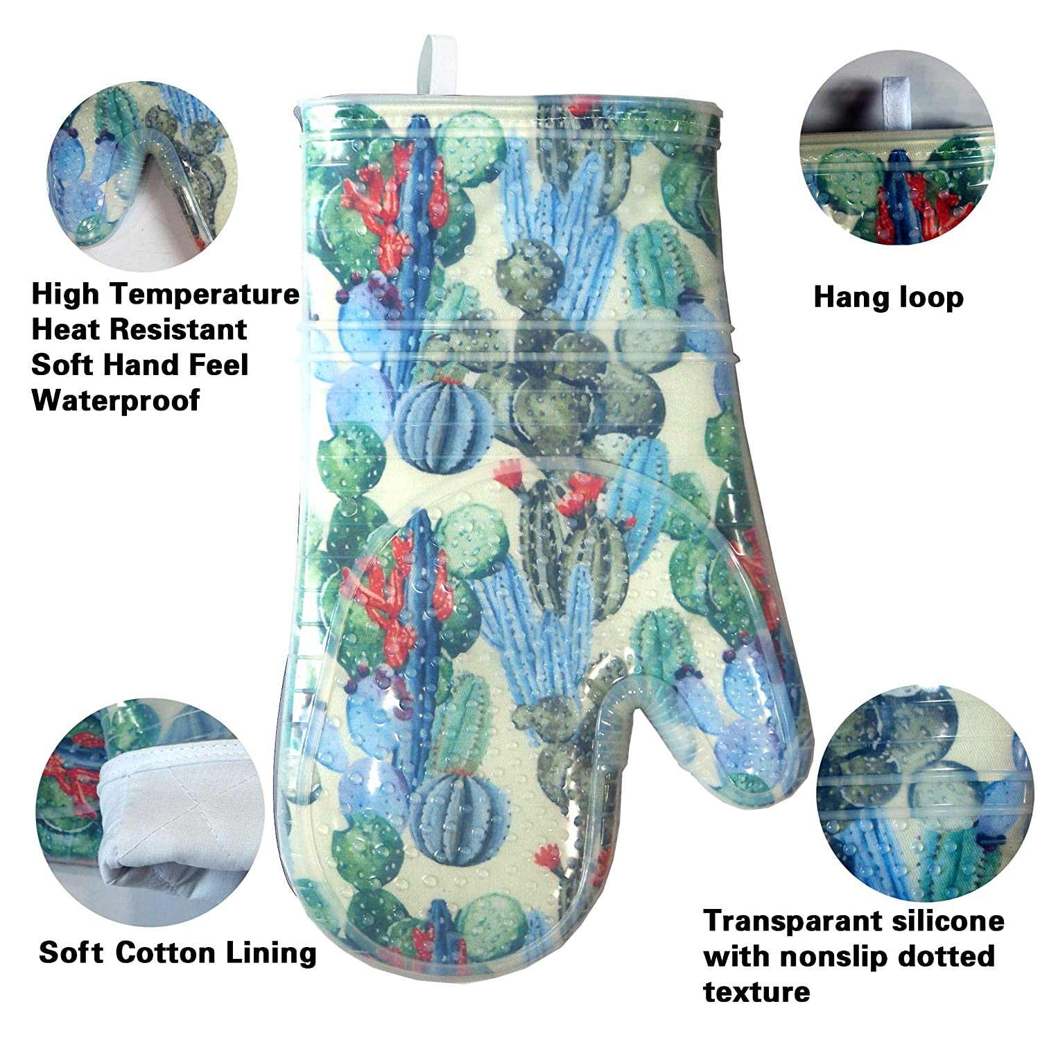 Blue Heat Resistant to 500 F Kitchen Oven Glove Mitts Pot Holder Cooking Oven Gloves Set of 2 with Transparent Clear Silicone Shell and Nice Dog Printing Cotton Lining