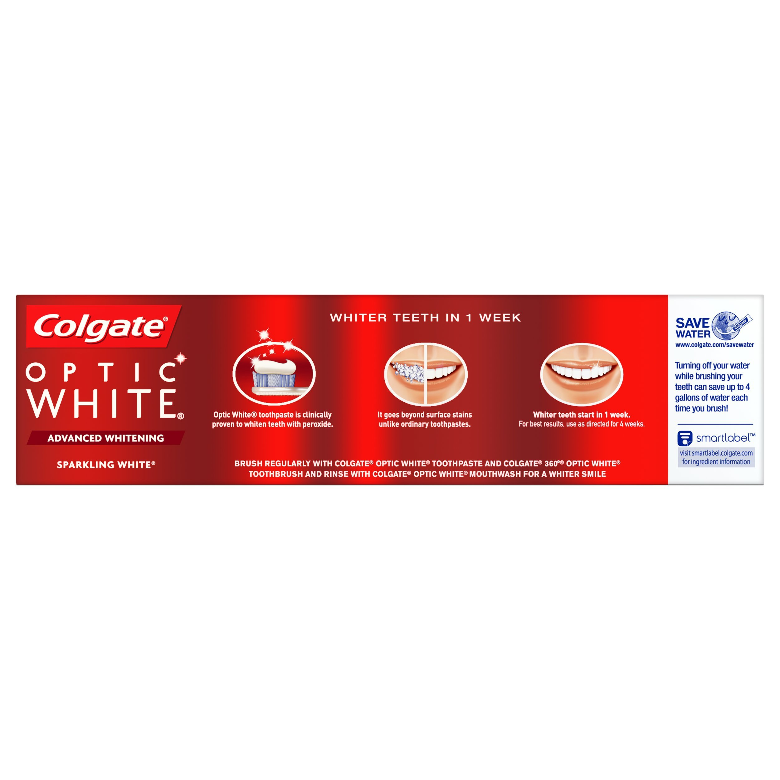 Colgate Optic White Whitening Toothpaste, Sparkling Mint, 5 Ounce, 3 Count by Colgate (Image #10)