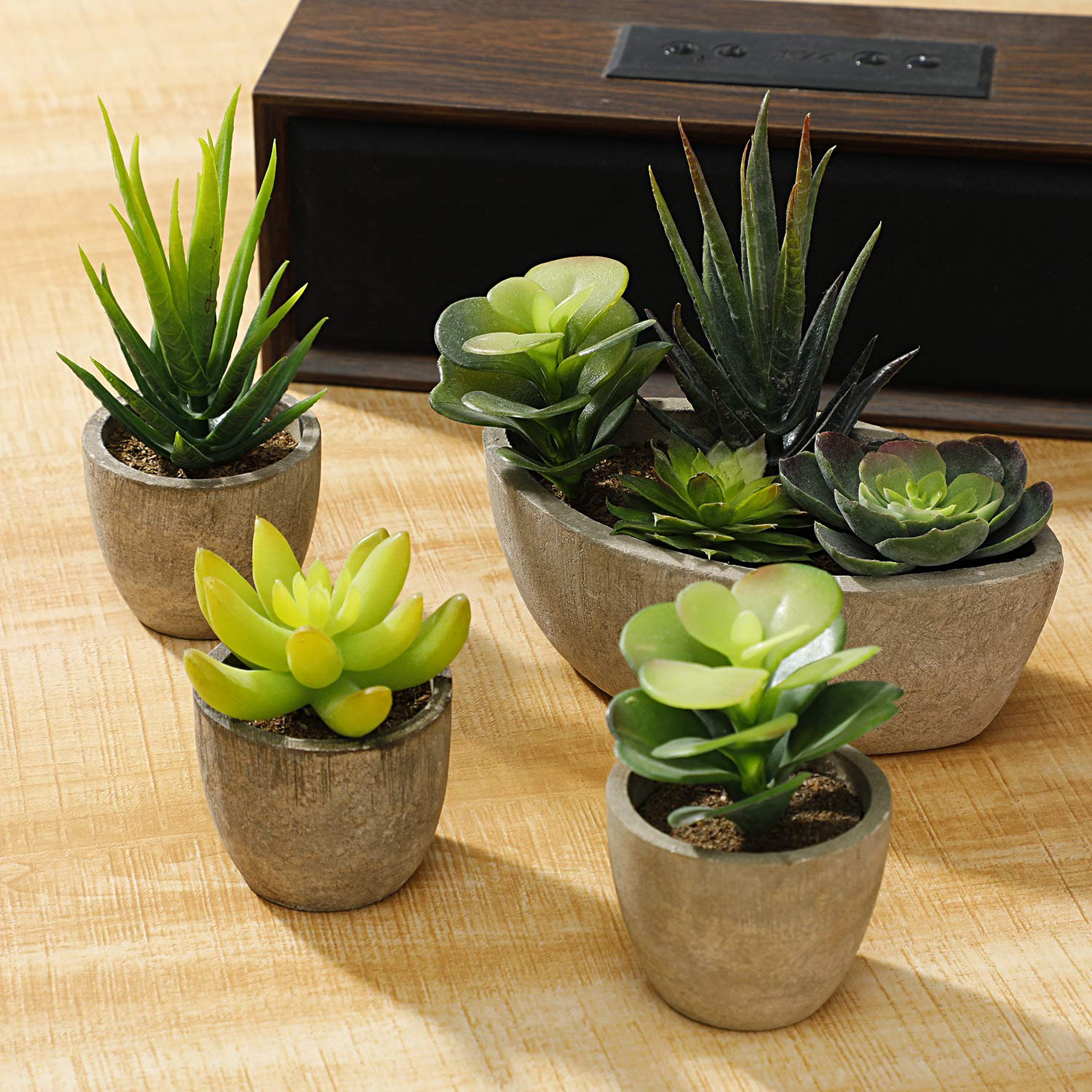 Ideal for Home Vintoney Artificial Succulent Plants Office and Outdoor Decor Set of 3 Assorted Decorative Faux Succulent Potted Fake Cactus Cacti Plants with Gray Pots