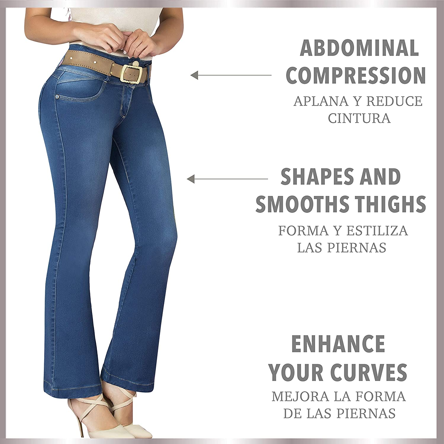 Aranza Pantalones Colombianos Levanta Cola Butt Lifting Colombian Jeans Boot Cut at Amazon Womens Jeans store