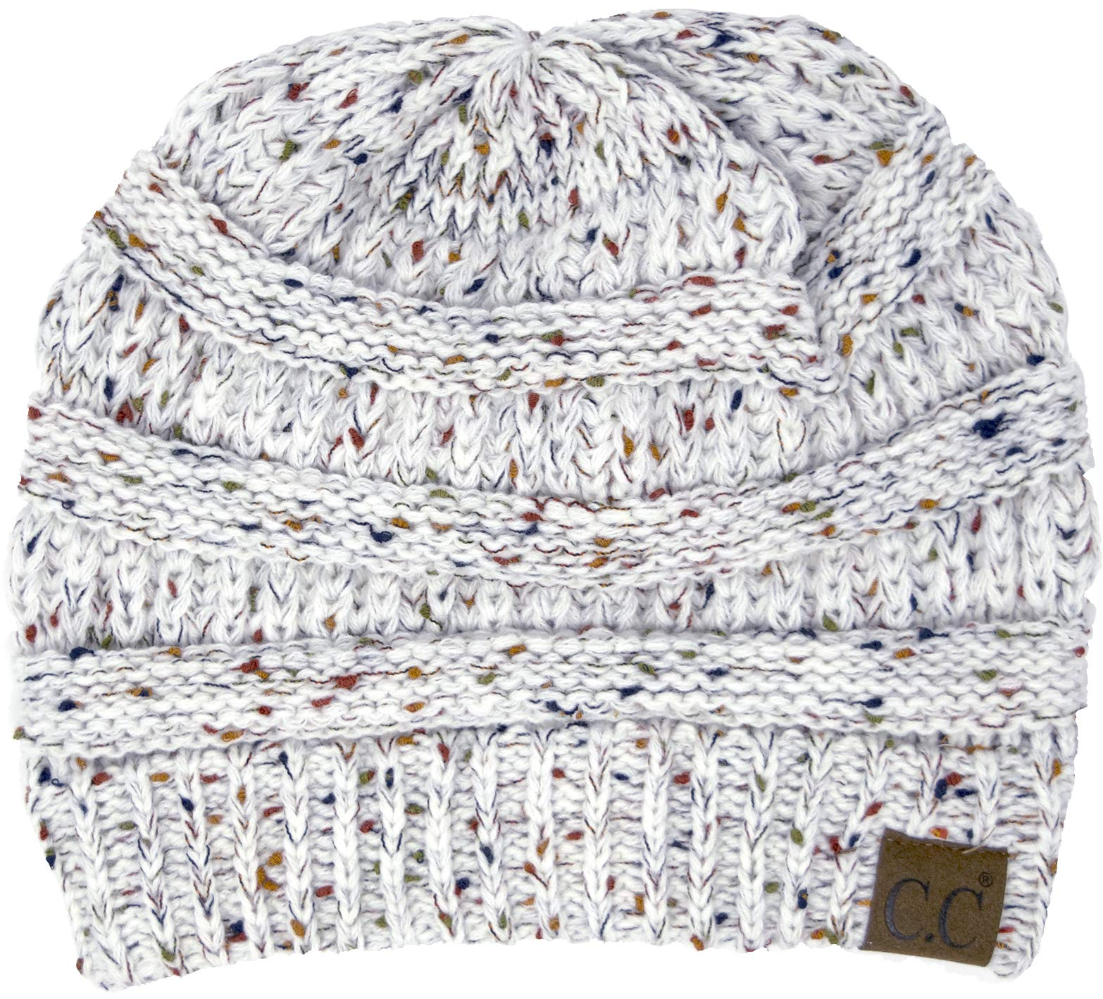 H-6033-25 Funky Junque Confetti Knit Beanie - Ivory