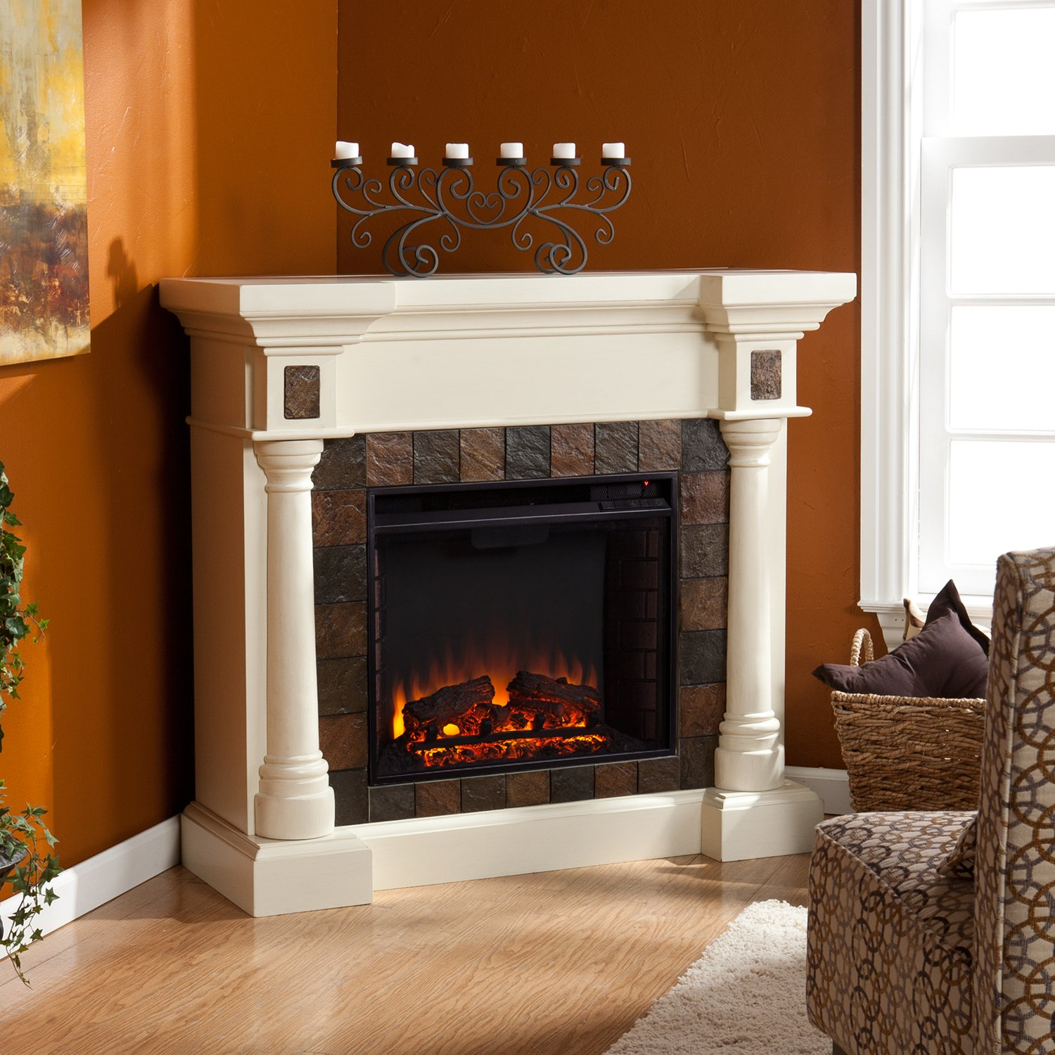 Amazon.com: Faux Slate Convertible Corner or Flat Wall Electric Fireplace - Ivory: Home & Kitchen