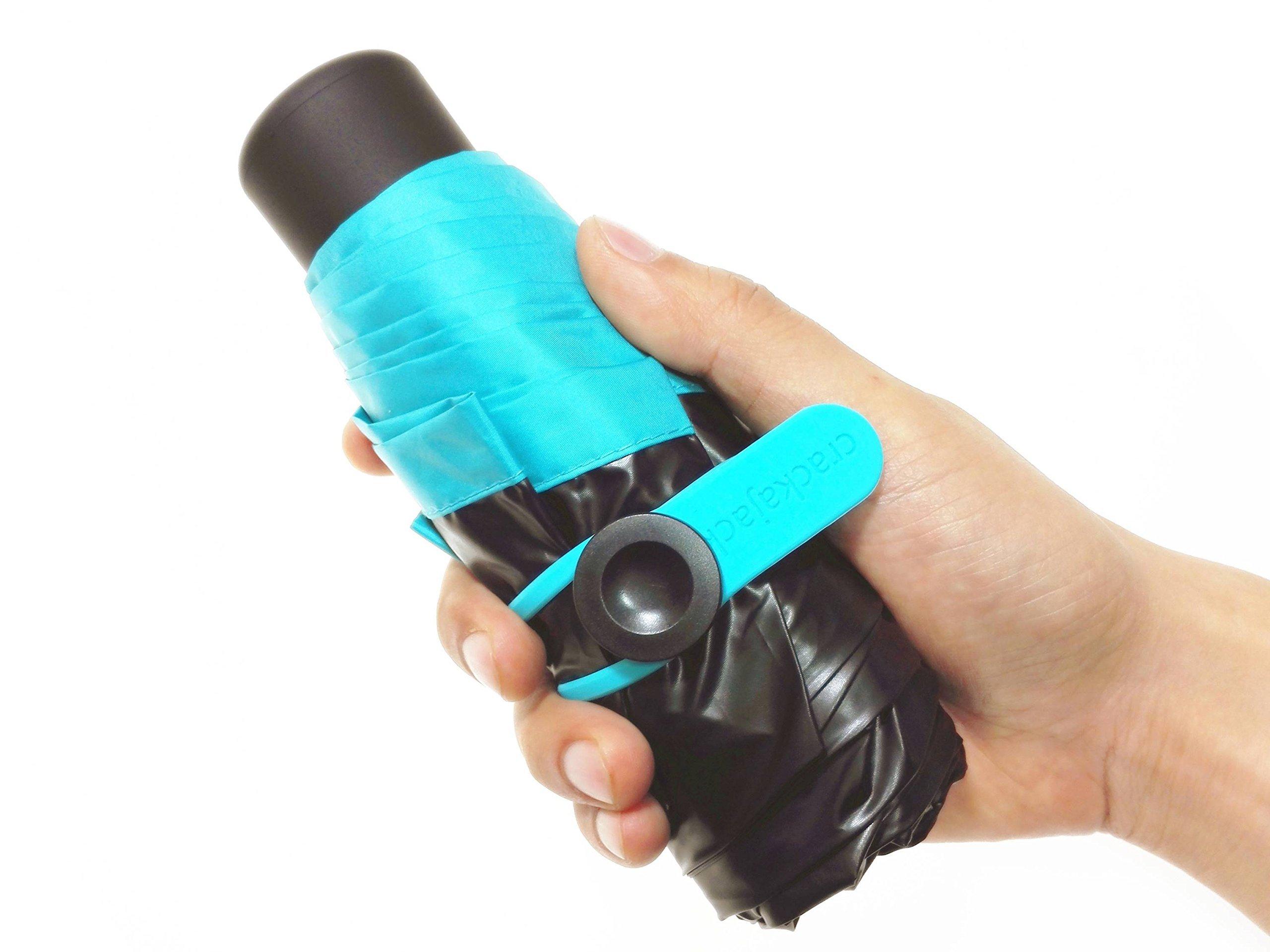 crackajack Mini Travel Portable Compact UV Protective Folding Umbrella Parasol for Sun Rain Backpack Purse Pocket Women (Blue Rim)