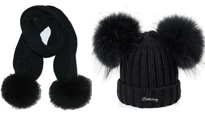 BrillaBenny Cappello Nero Doppio PON PON + Sciarpa Vera Pelliccia MURMASKY  Nera 1-4 Anni 582e8b802985