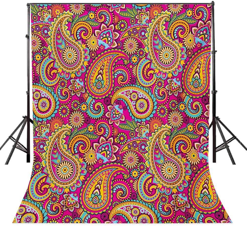 Paisley 6x8 FT Backdrop Photographers,Retro Style Patterns and Flowers in Design Detailed Artful Print Background for Child Baby Shower Photo Vinyl Studio Prop Photobooth Photoshoot