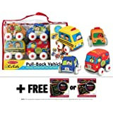 K's Kids Pull-Back Vehicle Set + FREE Melissa & Doug Scratch Art Mini-Pad Bundle [91688]