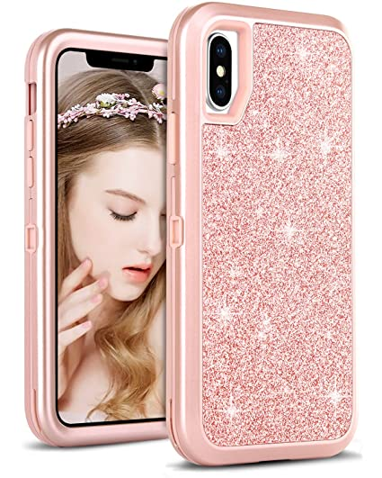 watch dca40 d6fdf DOMAVER iPhone Xs Case,iPhone X Case Shockproof Glitter Sparkle Bling Women  3 in 1 with Shiny Faux Leather Hard Case Soft Bumper Cute Protective Phone  ...