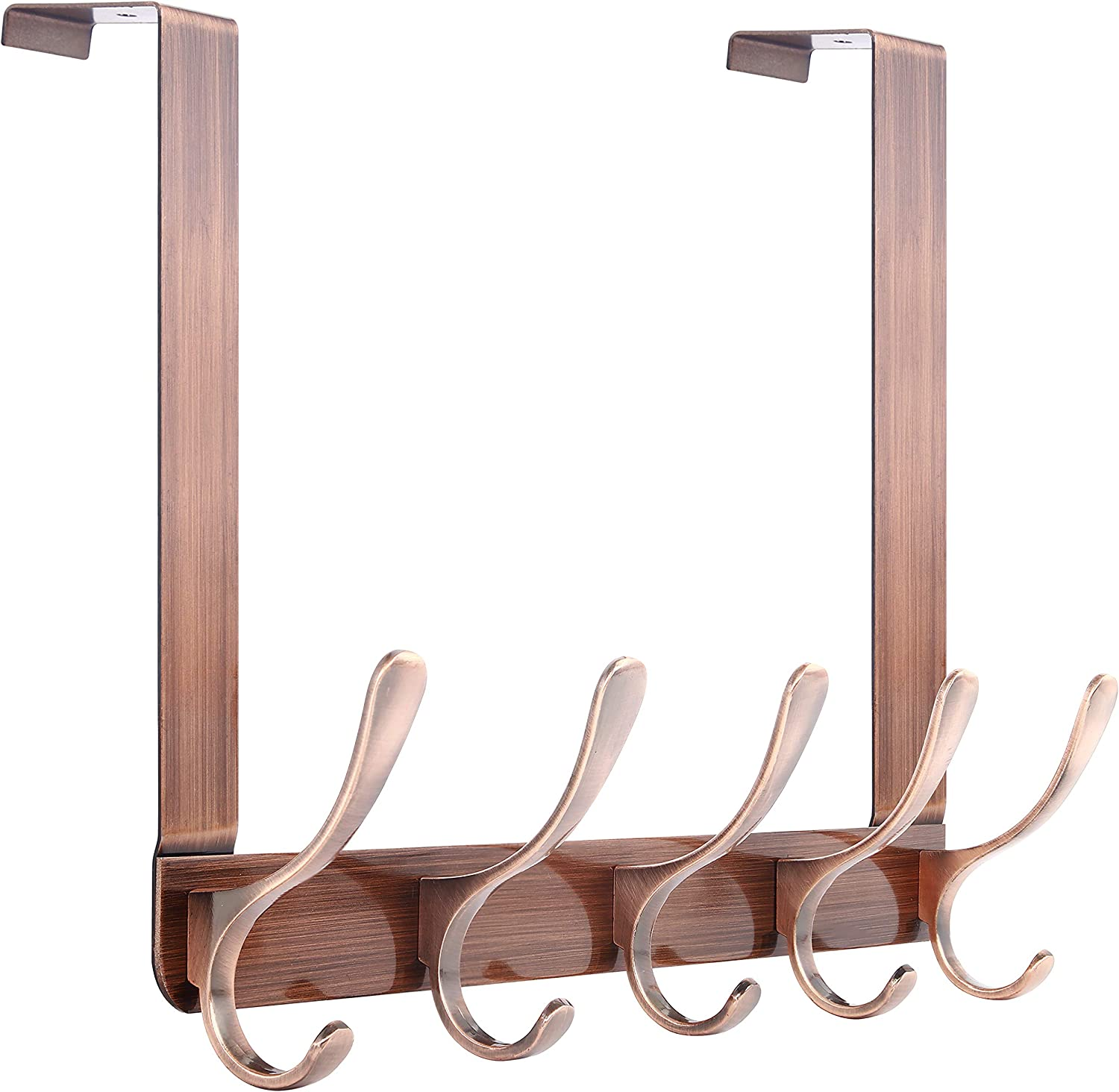 Towel Over The Door Towel Rack with 6 Removable Coat Hooks for Hanging Clothes Robes Over Door Hooks for Bathroom Bedroom Purse