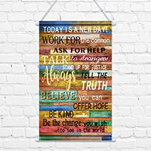 Today is a New Day Wall Decor Print Canvas Poster, 12 x 20 Inch Motivational Quotes Inspirational Hanging Scroll Frame for Painting Home Office Classroom Study Wall Decor