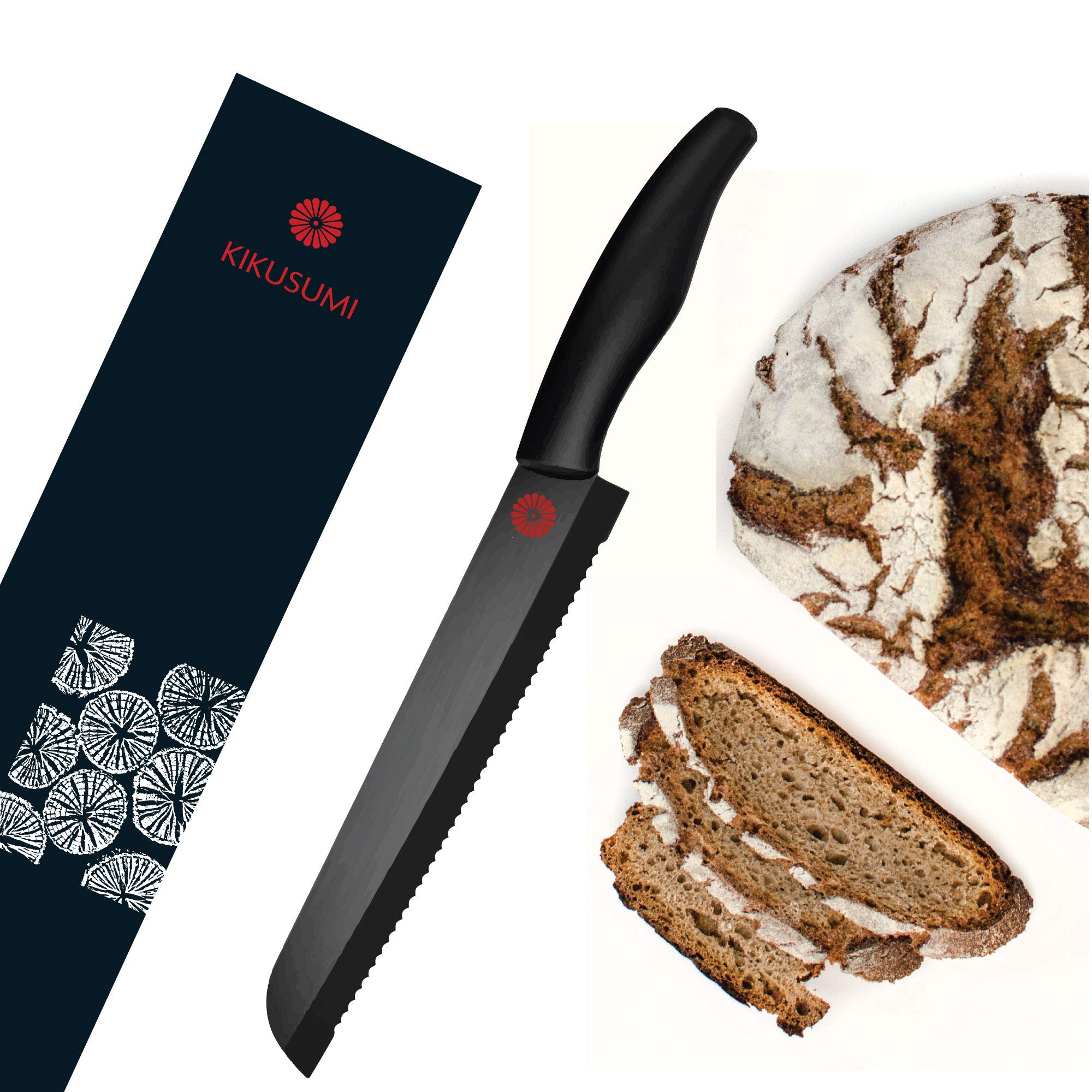 Kikusumi Bread Knife Set + Black Ceramic Blade - 8 inch Serrated Knife + Luxury Magnetic Gift Box + 1 Custom Knife Sheath (black)