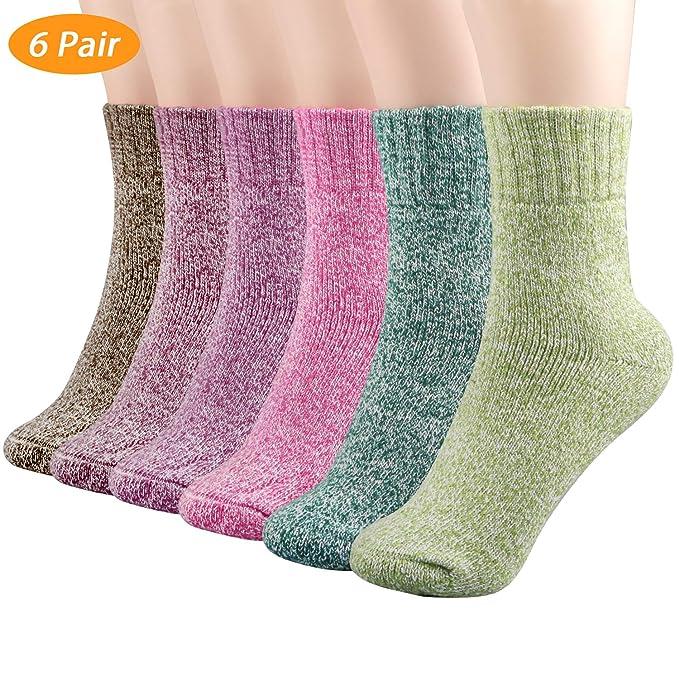 Philonext Calcetines de invierno de 6 pares, calcetines de lana de invierno de lana gruesa