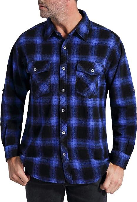 YYG Mens Hooded Fake 2 Pcs Button Down Plaid Print Casual Flannel Checkered Shirt