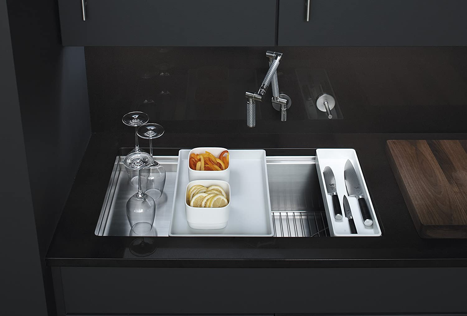 KOHLER K 3760 NA Stages 33 Inch Stainless Steel Kitchen Sink   Single Bowl  Sinks   Amazon.com