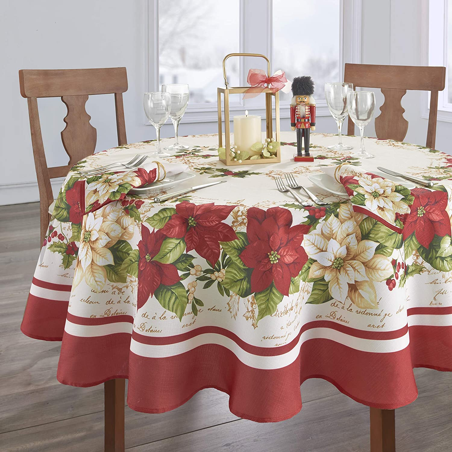 Elrene Home Fashions Red and White Poinsettia Christmas Holiday Fabric Tablecloth, 70