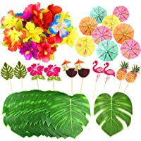 FEPITO 184 PCS Tropical Hawaiian Party Decorations Includes Tropical Palm Leaves, Hibiscus Flowers, Drink Umbrella Picks…