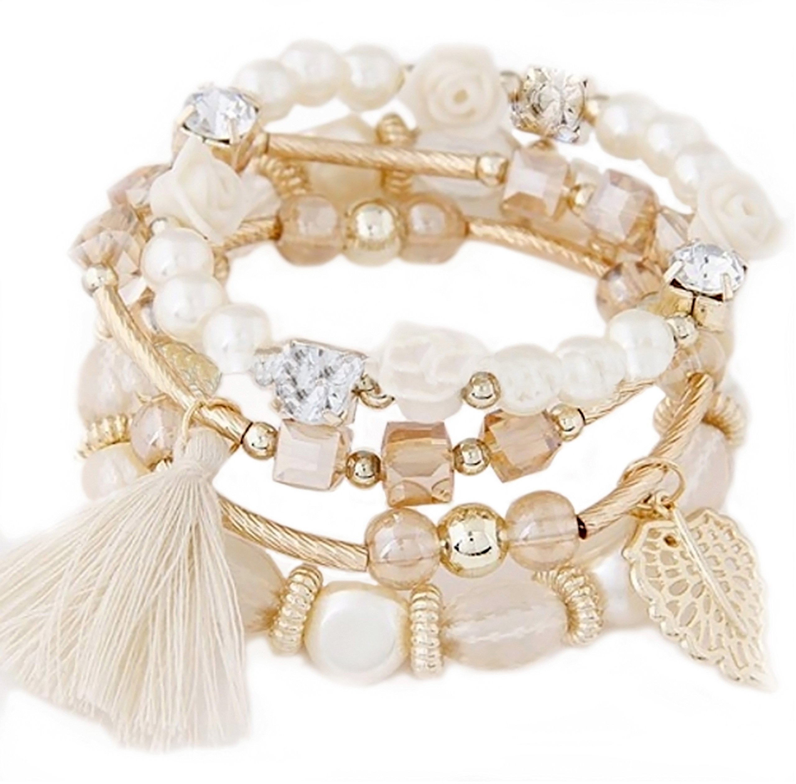 Eliana and Eli ''I Love Blooming Spring White Bohemian Pearl Tassel Stretch Handmade Bracelet (Blanco Bohemia Tassel Stretch Pulsera Hecha A Mano)- Great Valentine Jewelry Package Gift Mom