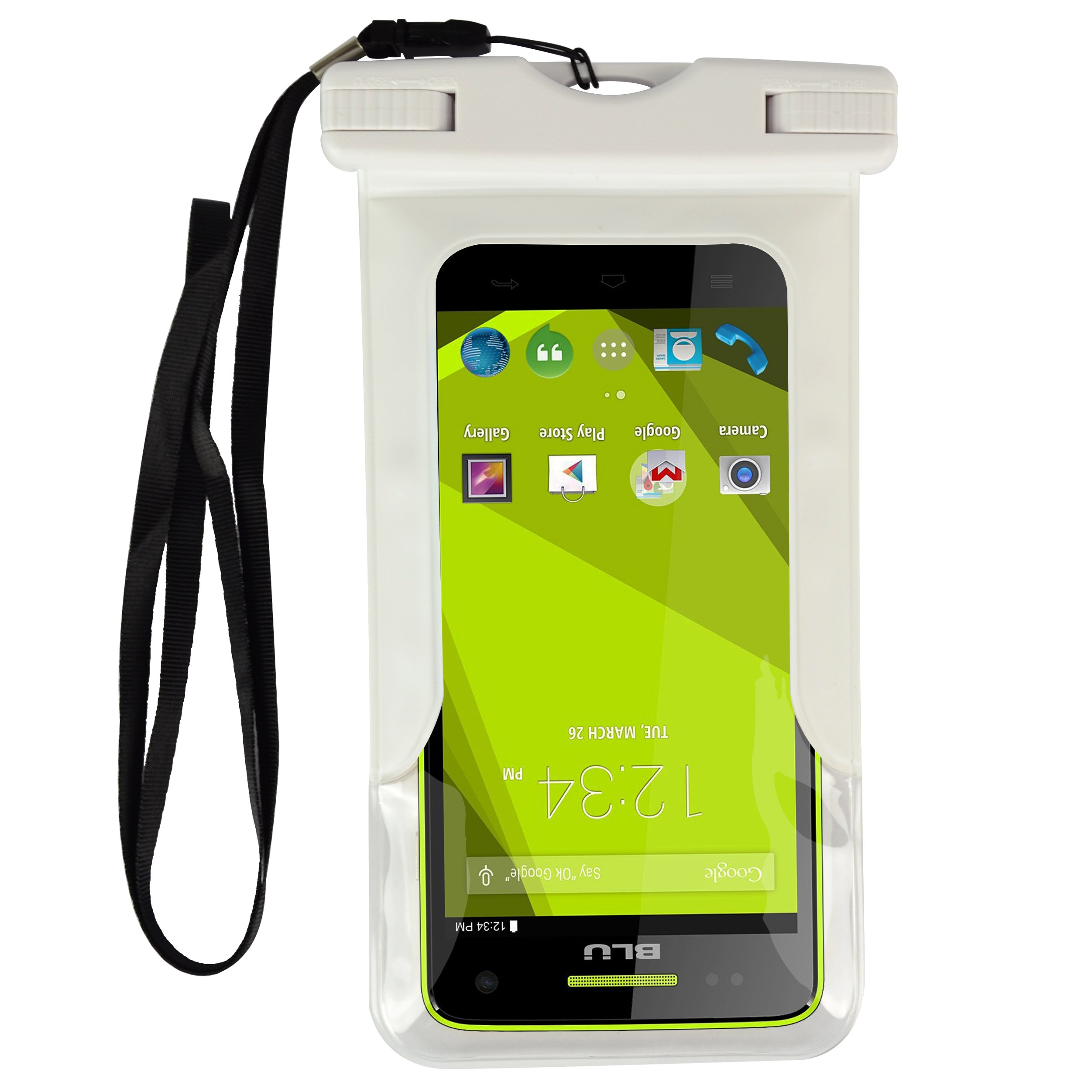 Waterproof Underwater Pouch Dry Float Bag Cover Case for BLU Win HD/Studio G/X/Energy Fit 5-5.5 Inch Ios Android Smart Phone + VG Earphones with MIC (White)
