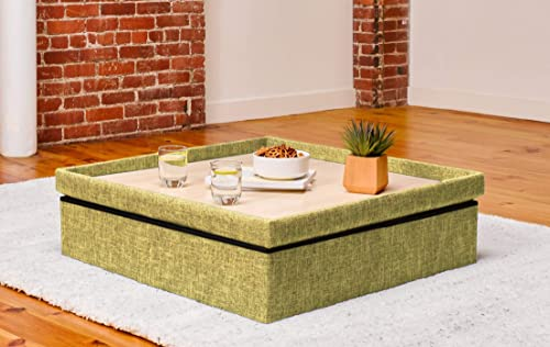 Yogibo Lift Top Coffee Table with Storage Compartments, Modular Base or Ottoman for Bean Bags, Green