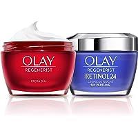 Olay Regenerist Crema Facial De Día y Olay Retinol 24 Crema Hidratante De Noche Con Retinol, Pack x 2 Uds, 24H De…