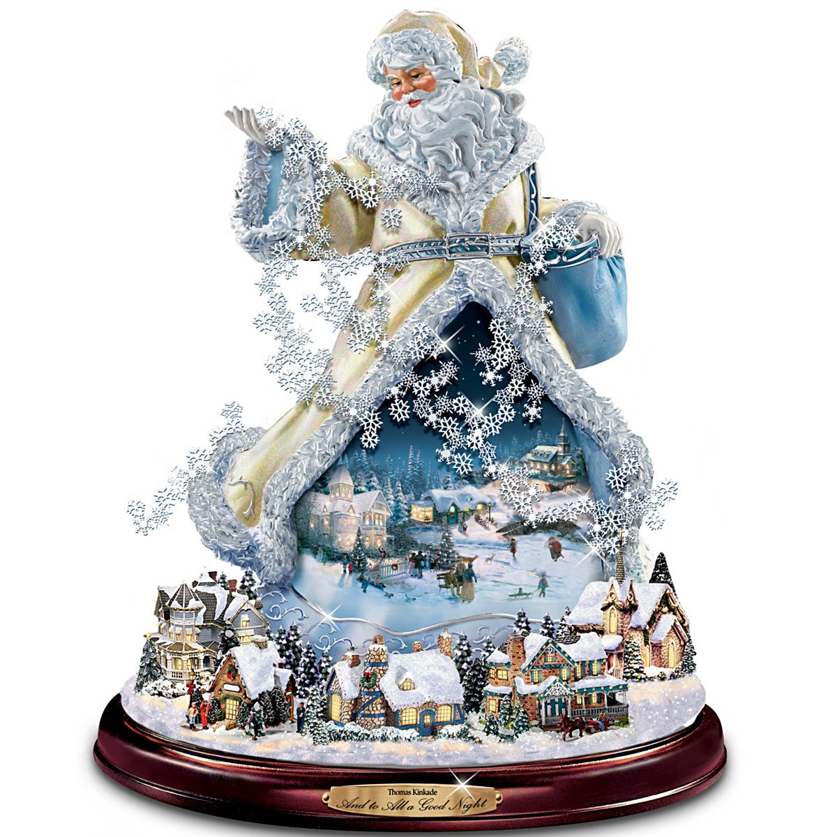 Thomas Kinkade Moving Santa Claus Tabletop Figurine: And To All A Good Night by The Bradford Exchange