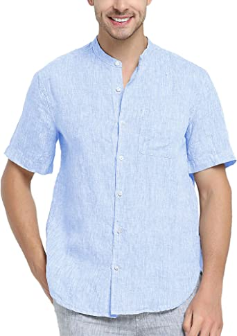 Najia Symbol Camisa de 100% Lino Tela Hombre Manga Corta Cuello Mao Casual (Azul, L): Amazon.es: Ropa y accesorios