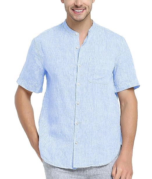 Najia Symbol Camisa de 100% Lino Tela Hombre Manga Corta Cuello Mao Casual  (Azul f646d04796b