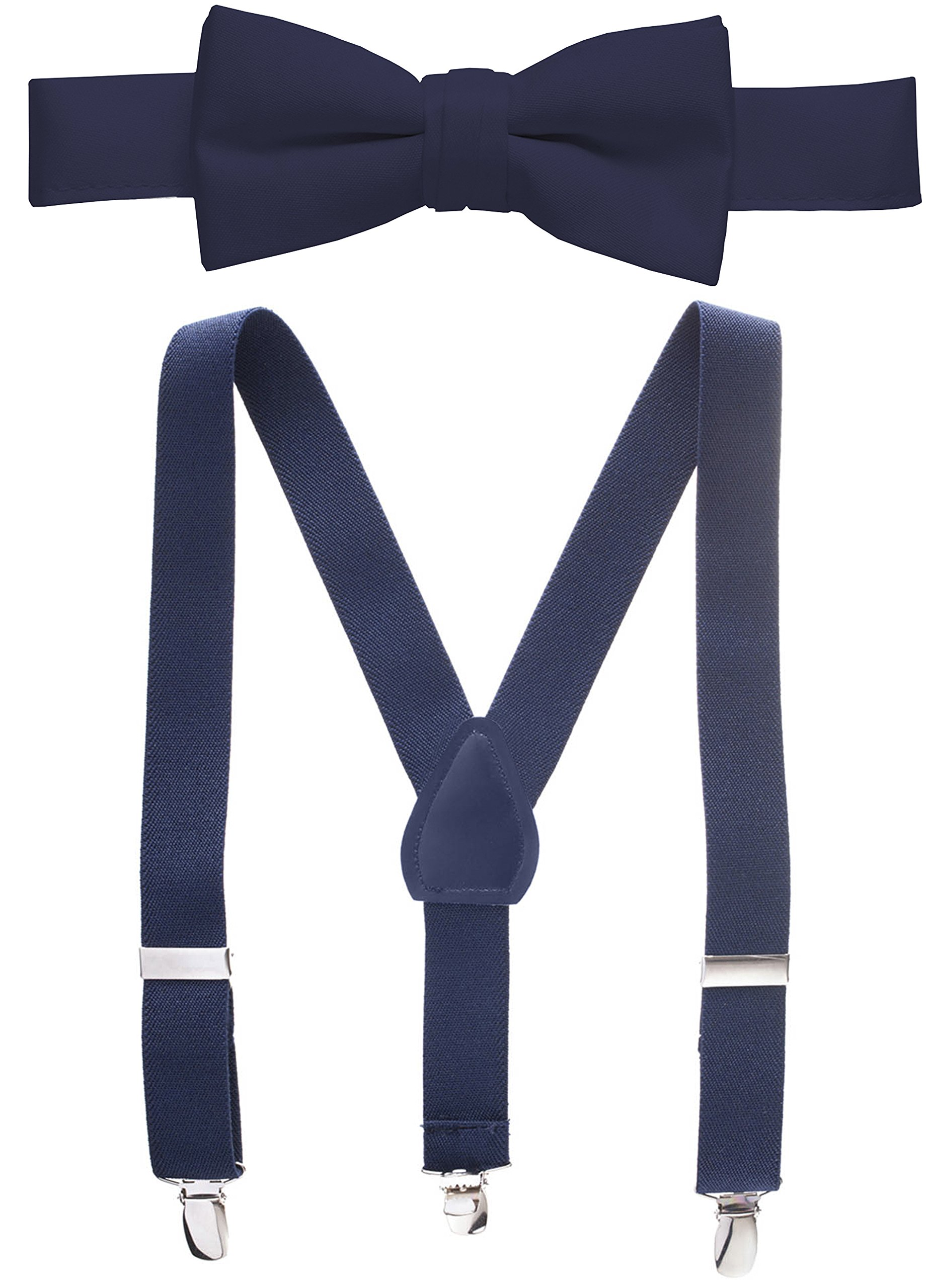 Hold'Em Suspender and Bow Tie Set for Kids, Boys, and Baby - Proudly Made in USA - Extra Sturdy Polished Silver Metal Clips, Pre tied Bow Tie-Navy 26''