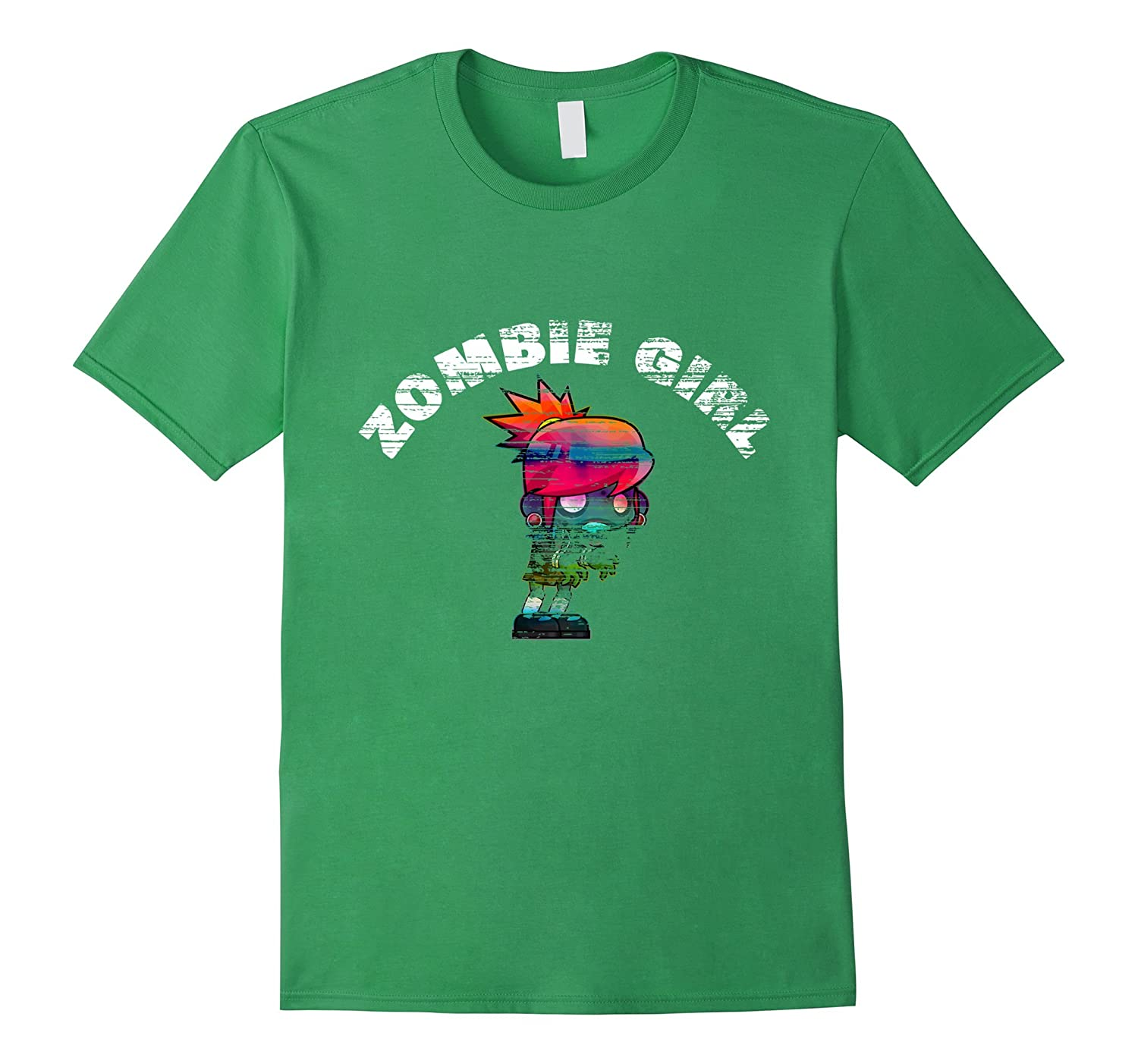 Zombie Girl Funny Distressed Halloween T-Shirt-FL