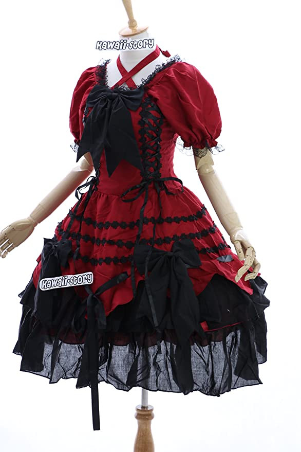Kawaii-Story M de 3101 Rojo Negro Red Black Gótico Sweet Lolita Cosplay Vestido Dress Costume Dress: Amazon.es: Ropa y accesorios